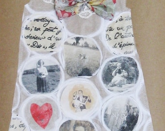 Collage on brown paper, memory dress, paper dress, Liberty silk bow and lace, stitched paper