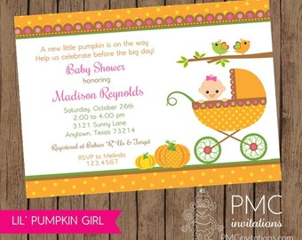 Little Girl Pumpkin Baby Shower Invitations - 1.00 each with envelope