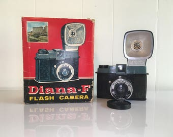 Vintage Diana F Camera with Flash Outfit and Lens Cap in Original Box 1960s Toy Plastic