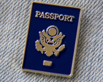 Passport Enamel Lapel Pin, American - Gold Hat Pins for Travel, Traveler, Wanderlust Gift - Adventure, Vacation Accessory for Luggage