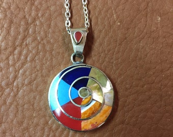 Sterling 950 Zia Spiral Sun Necklace
