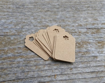 10, 50, 250, 500 Small Kraft Gift Tags - 1 inch retail tags - handmade with flower hole