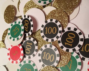 Poker Chip Confetti   Casino Night Decor   Poker Theme   Las Vegas Theme   Game Night