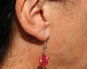 Red earrings with Crystal beads