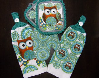 Superb Crocheted Top Hanging Kitchen Towel Set Of 5, Owl Hand Towel, Crochet Owl  Hand Design Inspirations