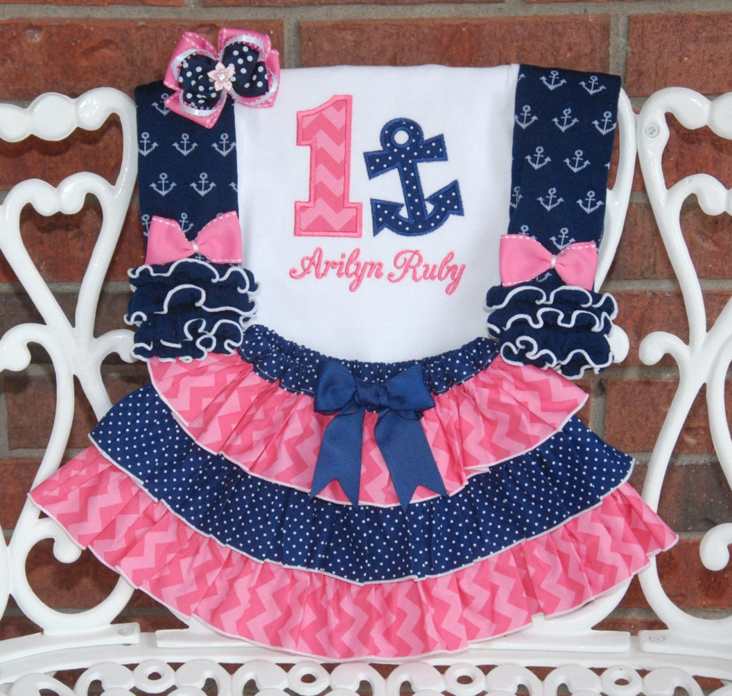 4 pc Girls Nautical Birthday Outfit Baby Girl Anchor First