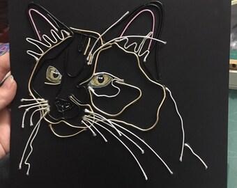 Bespoke Black Wire Pet Portrait