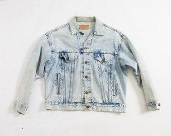 """Vintage LEVI'S Denim Jacket - 1980s Blue Jean Jacket 1980s - Large 46"""""""
