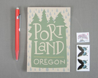 Portland Oregon Rain Set of 6 Postcards / Illustrated Postcards / Hand Lettered / Travel Souvenirs / Portland Oregon Postcard Set / PDX