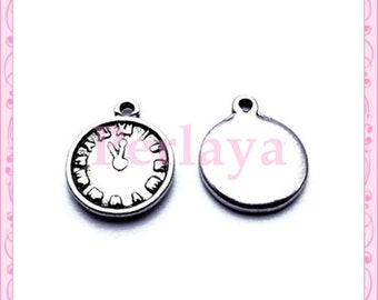 Set of 15 REF154X3 silver clock charms