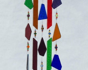Handmade Handcrafted Stained Glass Copper Beaded Wind Chime Suncatcher – Pretty Sound!