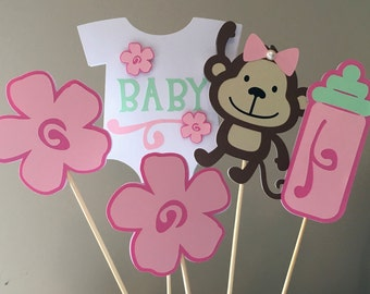 Monkey Baby Shower Centerpiece Picks, Monkey Party, Monkey Baby Shower  Decoration, Pink And Mint