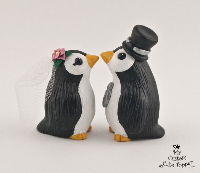 Penguin Wedding Cake Topper - Cute Penguins - Pick your colors and ...