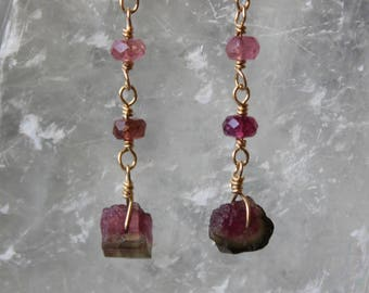 Watermelon Tourmaline Rough Earrings with multi-colored tourmaline, Tourmaline Earrings, Gemstone Dangling Earrings, October Birthstone
