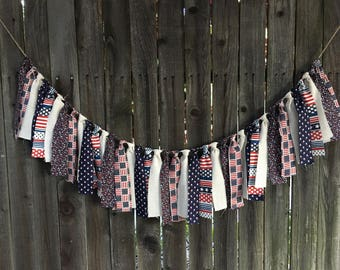 Patriotic Banner Garland Rag Fabric Porch Decor Mantle Garland