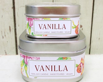 Very Vanilla Soy Candle 4 oz. - Green Daffodil - Handpoured - Siouxsan and Anne -C4