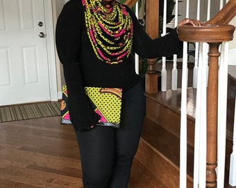 Ankara Bag and Necklace Set, African Print Bag and Necklace Set, Adiahbyknicole, Clutch and Necklace Set