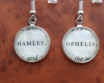 OOAK Hamlet and Ophelia William Shakespeare book page earrings book page jewellery 1st anniversary gift recycled gift