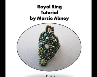 Beadweaving Tutorial - Royal Ring in Herringbone Instant Download