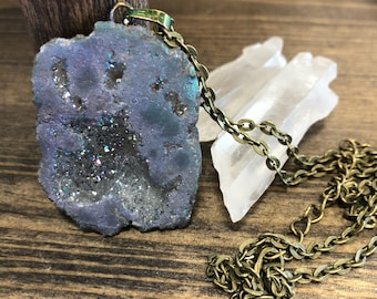 READY TO SHIP muted rainbow druzy necklace on bronze chain