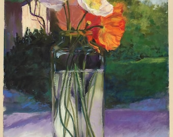 Original Pastel Painting of Poppies in a Glass Vase