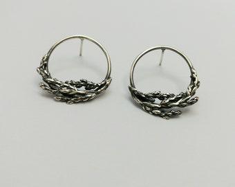 Juniper Branch earrings, Sterling silver studs, Cedar branch studs, Woodland Jewelry, Minimalist Nature earrings, Handmade