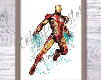 Iron man print Marvel superhero poster Kids room wall art Boys room decor Iron man watercolor poster Marvel wall decor Superhero art V249