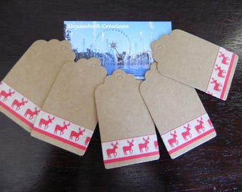 5 labels kraft 7 x 4 cm kraft with masking tape reindeer pattern