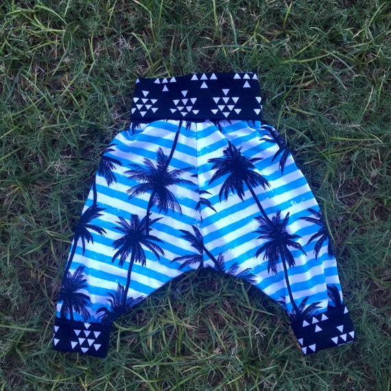 Childrens unisex blue palm tree harem pants (size 6 months to 4 years)