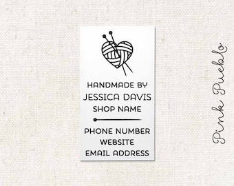Personalized Business Card Rubber Stamp, Knitting Business Card Stamp