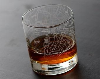 New York City Maps Rocks Glass