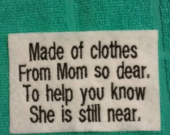 Memory Pillow Patches From Mom
