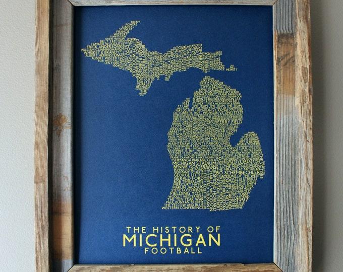The History of Michigan Football - University of Michigan - Word Map (Maize & Blue) - Unframed