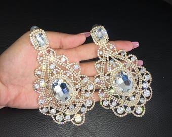 Bridal earrings, dangle crystal earrings, Wedding dangly earrings, Large earrings, rhinestone earrings, bridal crystal earring