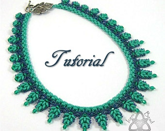 PDF Tutorial Louisa Necklace with Super Duo beads, beading pattern. English Only,