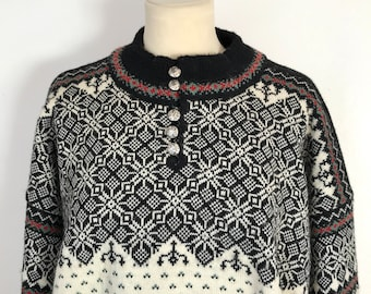 DALE of NORWAY SWEATER / Wool sweater / Norwegian / Craftmanship / Black / White / Made in Norway / Knitted / Pewter / High quality