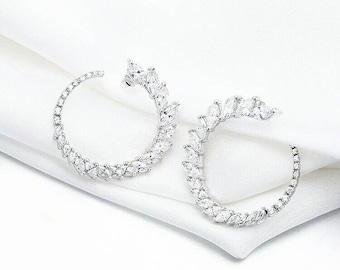 sterling silver round full zircons hoops diamond earrings