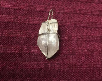 Genuine Maine Quartz Crystal Necklace Wrapped in Silver Copper Wire