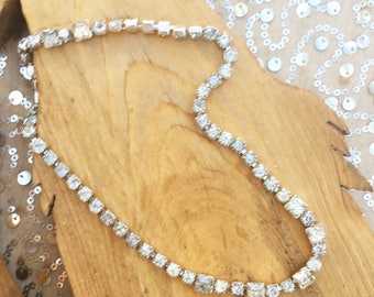 Vintage Rhinestone Material Girl Necklace