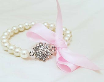 Ivory Pearl Corsage Bracelet with Ribbon