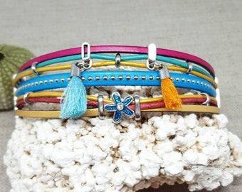 """""""Floral"""" multicolor leather Cuff Bracelet"""