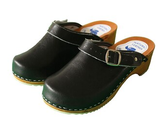 Womens Hand Made Clogs Ladies Wooden Sole 100% Natural Leather Upper Size 3 - 8