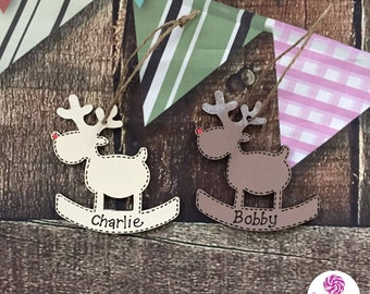 Personalised wooden reindeer