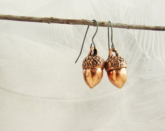 Acorn earrings, realistic acorn earrings, pink gold acorn dangle earrings, fall harvest, unexpected miracles, magical acorns