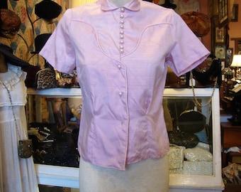 Vintage 1950's Blouse * Pink Lilac Shantung * Unworn * Size XS-S