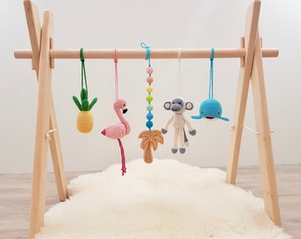 Tropical Baby play gym. Flamingo, Pineapple, Monkey, Whale, Wooden palm tree with rainbow. Wooden baby gym frame, crochet rattles