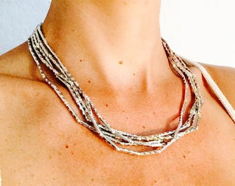Silver Multistrand Beaded Necklace, Silver Bead Multistrand Tribal Necklace, Indian Tribal Boho Gypsy Hippie Beaded Multistring Necklace