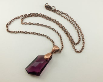 Amethyst Birthstone Pendant February Birthday Antiqued Copper Necklace Rustic Metal Modern Crystal Pendant