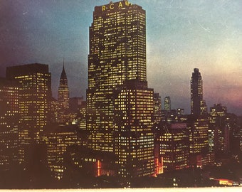 Vintage NY Postcard Mid-town Manhattan at Night Postcard New York City NY 1959