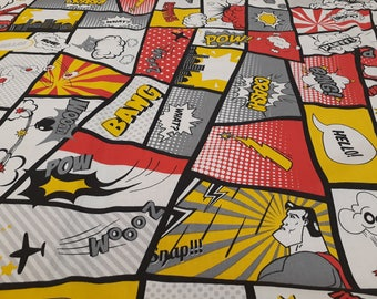 Fabric cotton red yellow black white people cartoon Comics Superhero Cotton Fabric Kids Fabric Scandinavian Design Scandinavian Textile